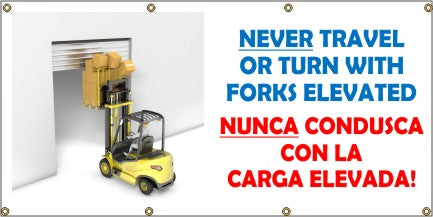 Never Travel or Turn With Forks Elevated (English and Spanish) - SBS583