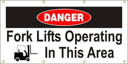 Danger - Fork Lifts Operating In This Area - SBS119