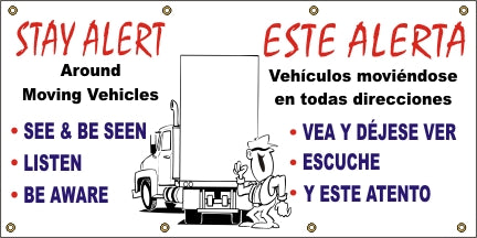 Stay Alert Around Moving Vehicles (English and Spanish) - SBS527