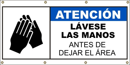 Wash Hands Before Leaving Area (Spanish) - SBS561