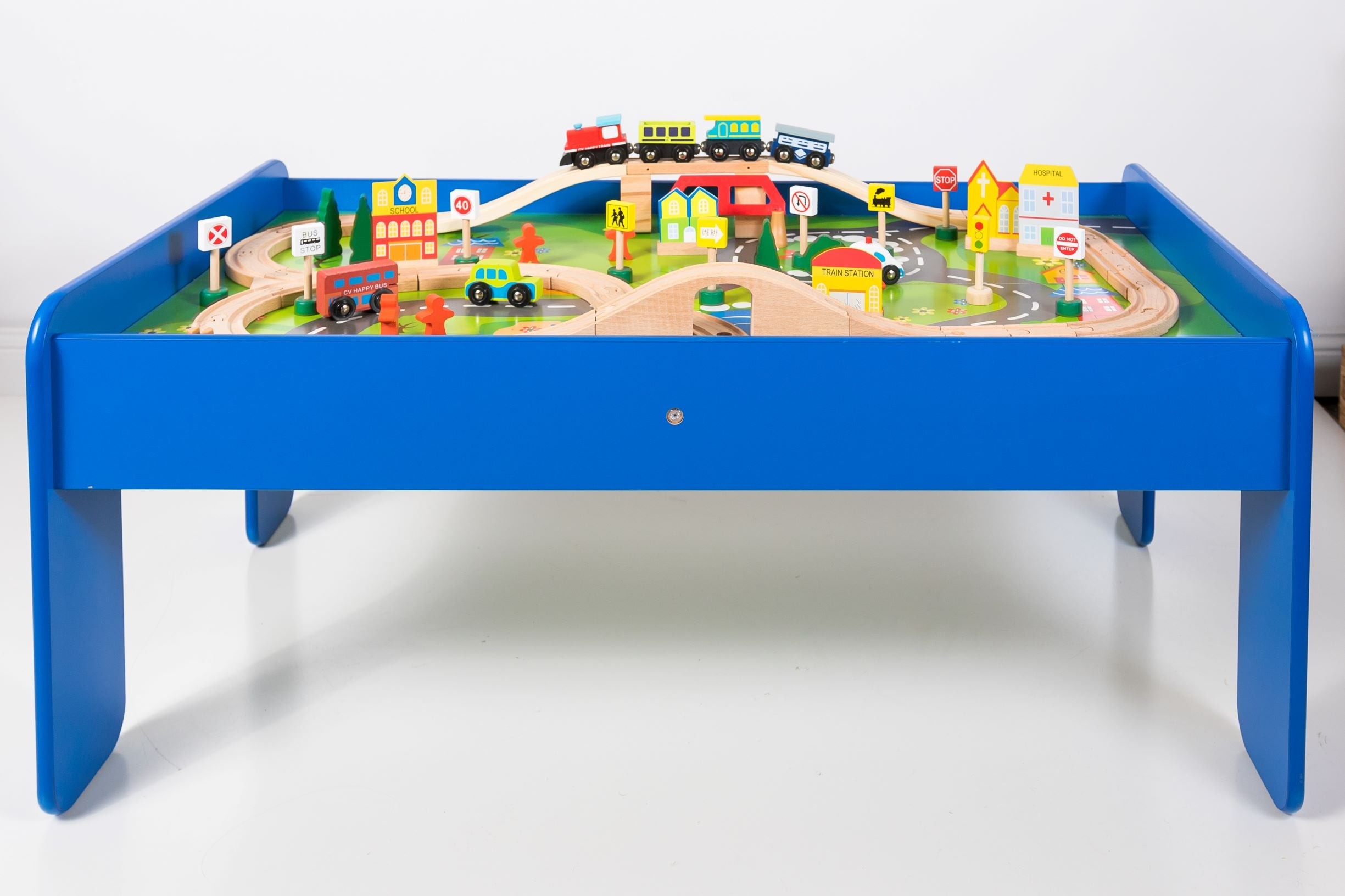 Wooden Train Table - 90pc Train Set – Woodsprout Toys