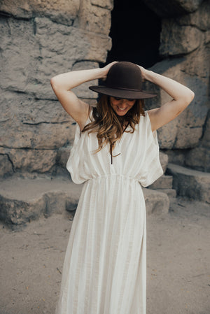 ALICE - Grecian Dress - Stripe Linen