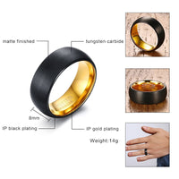 WOLF/RAM Tungsten Ring for Men - Matt Black/Gold : 8mm