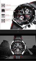 MEGALITH Masculino Mens Quartz Sports Wristwatch - Black Edition