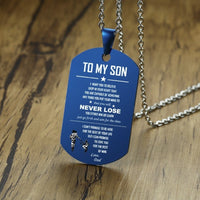 STEELTIGER™ To My Son Stainless Steel Dog Tag Pendant & Necklace - Blue - DEFIANT Fashion™