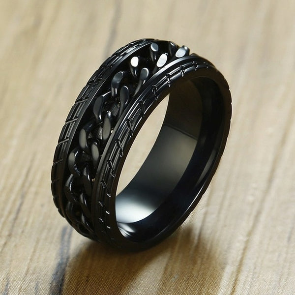 STEELTIGER™ Black Chainor Stainless Steel Mens Spinner Ring - 8mm - DEFIANT Fashion™