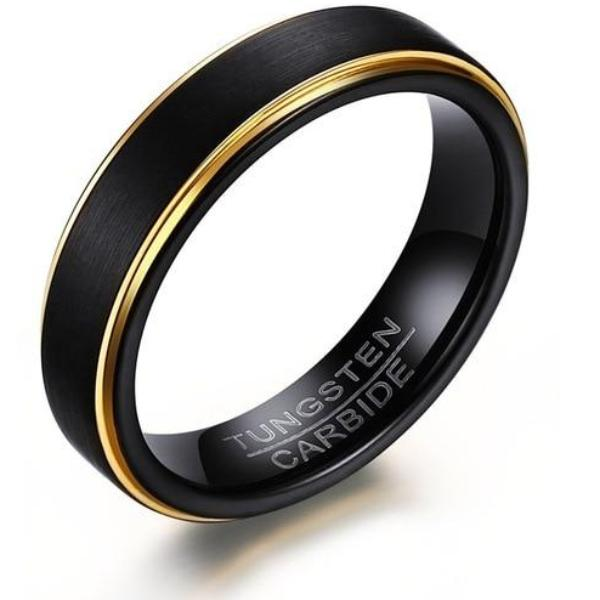 WOLF/RAM Matt Black/Gold Trim Tungsten Ring for Men - 5mm
