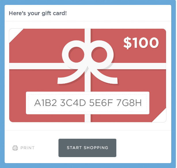 Online Gift Card  For Use In The Web Store