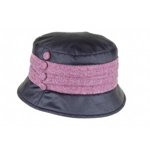 Heather Ema Pleat Wax Tweed Hat