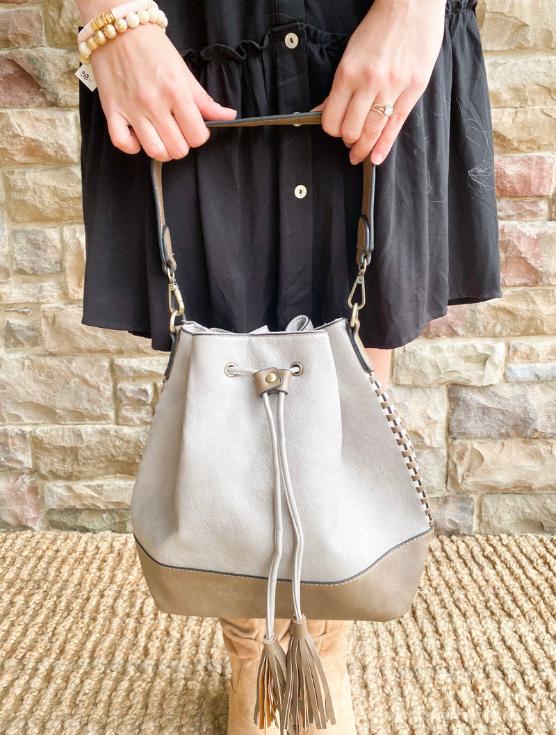 Contrast Bucket Bag - Taupe