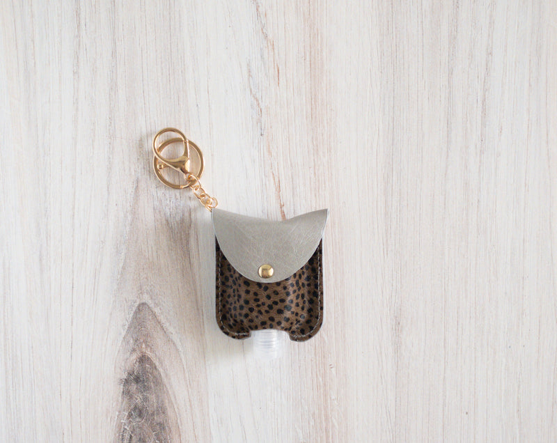 Animal Print Hand Sanitizer Holder - Gray Brown