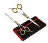Gold Touch Pet Grooming Shear Kit 7.5 Inch Straight & 7.5 Inch Curved Scissors