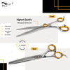 "Gold Touch 7"" 46-Tooth Professional Dog Thinning Scissors, Slim Pointed Tip Shear, Sharp 440c Japanese Stainless Steel Pet Grooming Scissors."