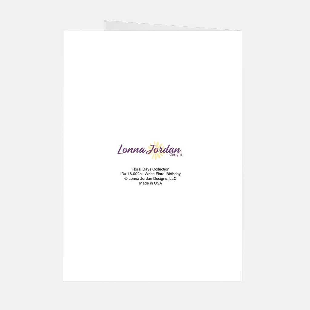 White Floral Happy Birthday Greeting Card