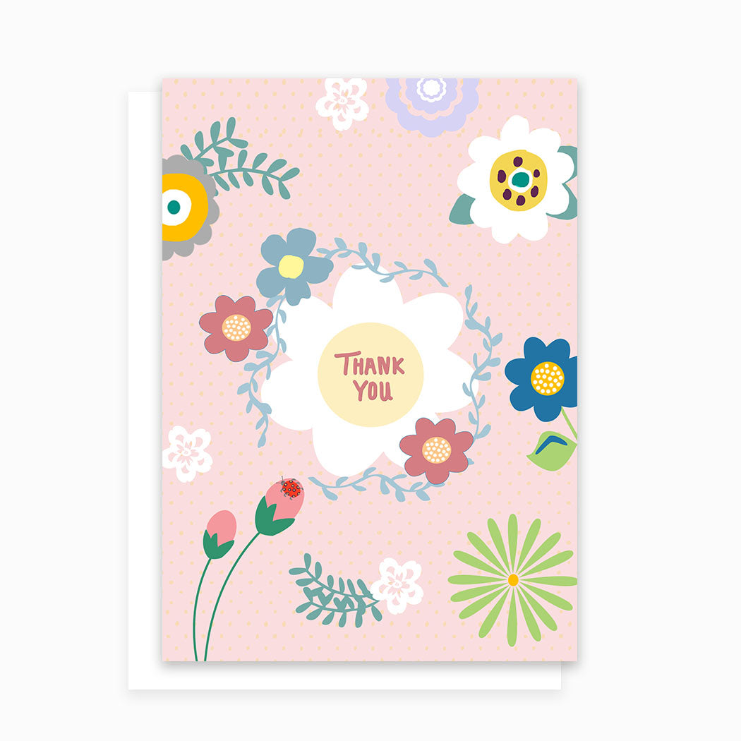 Thank You Greeting Card with Pink Flowers and Ladybug
