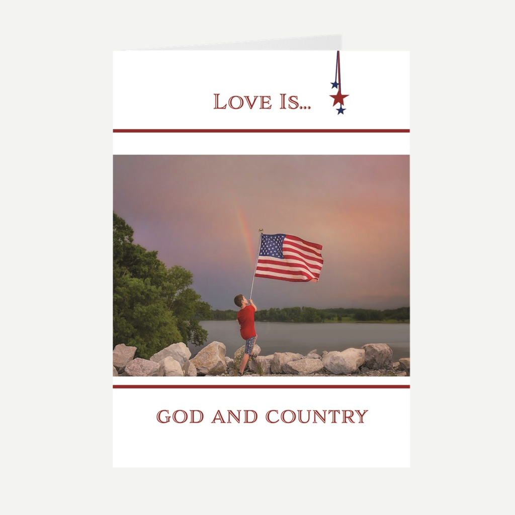 """Love Is...God and Country"" Greeting Card"