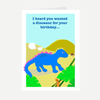 """Neon Dinosaur"" Birthday Greeting Card"