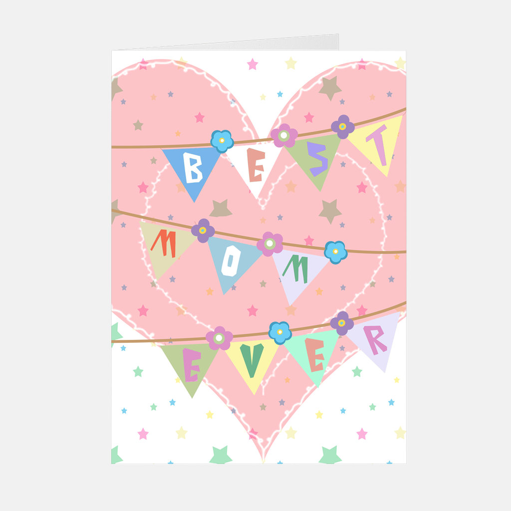 "Pink Heart ""Best Mom Ever"" Greeting Card"