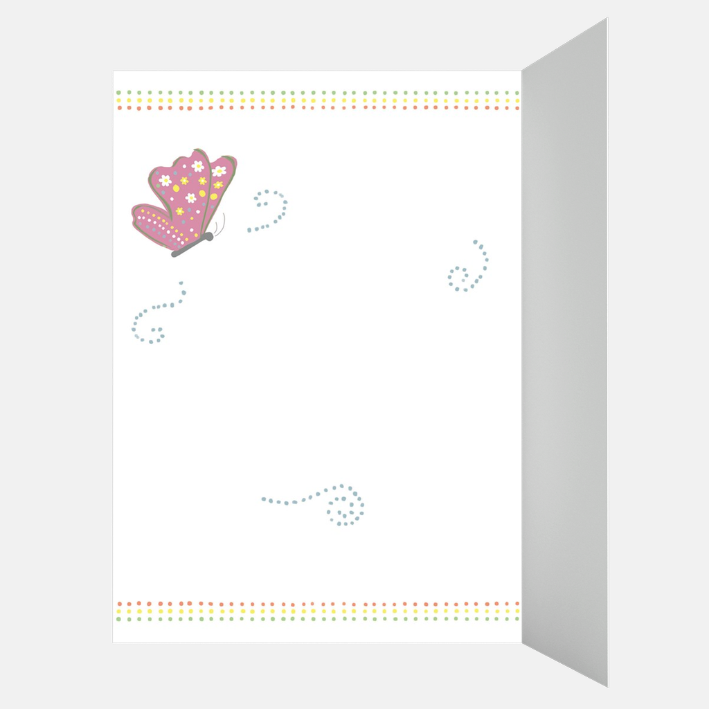 Pink Floral Butterfly Card for New Baby