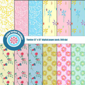 """Retro Flowers"" Digital Patterns and Paper"