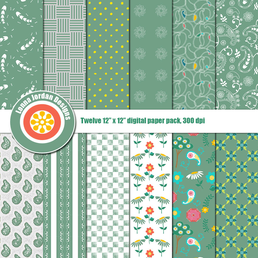 """Simply Mint Green Paisley"" Digital Patterns"