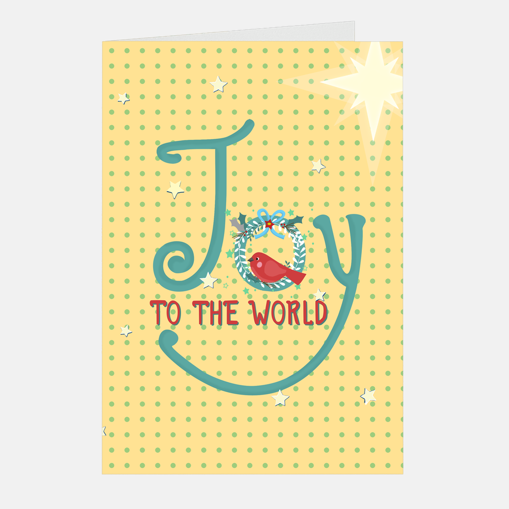 "Mini Christmas Cards - ""Joy To The World"", 5-count"