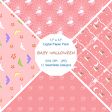 """Baby Halloween in Pink and Blue"" Digital Paper"