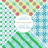 """Blue Apple A Day"" Digital Patterns"