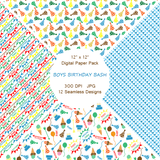 """Boy's Birthday Bash"" Digital Patterns and Paper"