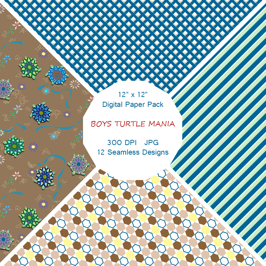 """Boy's Turtle Mania"" Digital Patterns and Paper"