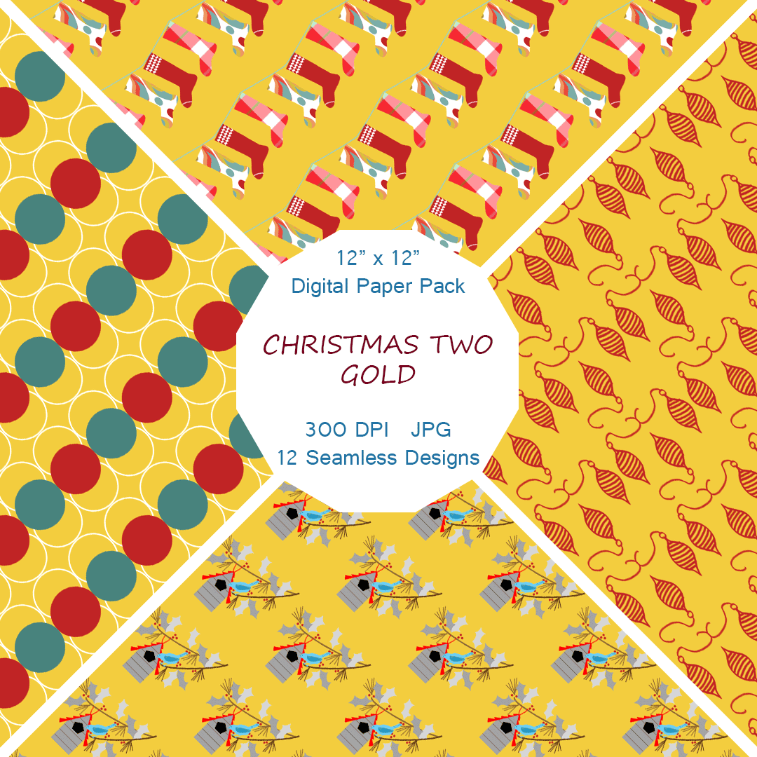 """Christmas Two in Gold"" Digital Patterns and Paper"