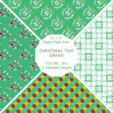 """Christmas Two in Green"" Digital Patterns and Paper"