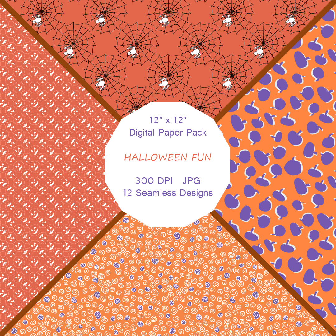 """Halloween Fun"" Digital Patterns and Paper"