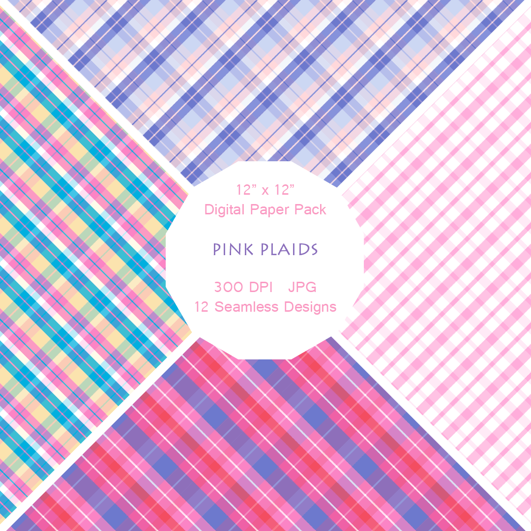 """Pink Plaids"" Digital Patterns and Paper"