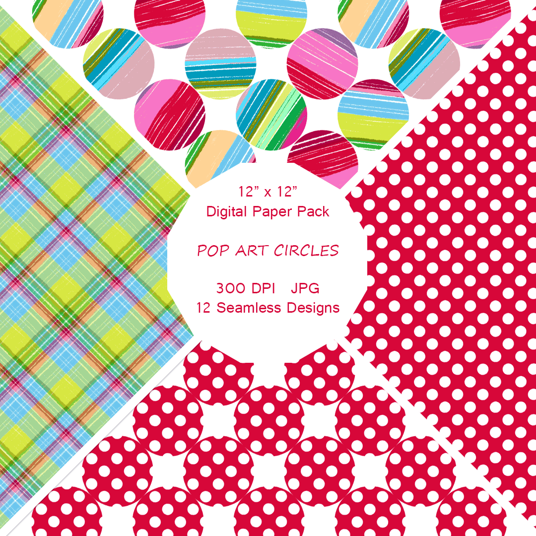 """Pop Art Circles"" Digital Paper"