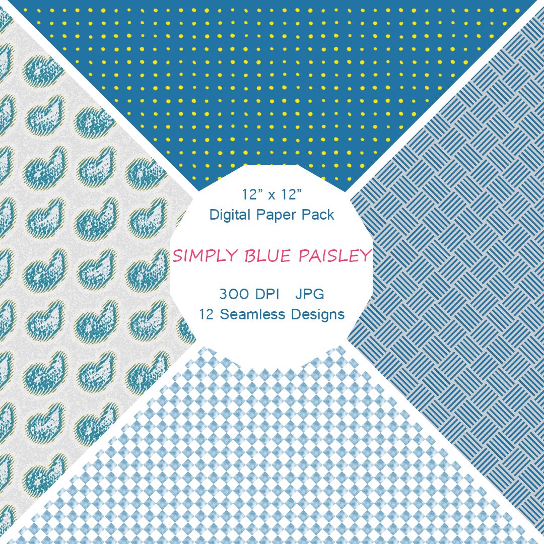 """Simply Blue Paisley"" Digital Patterns"