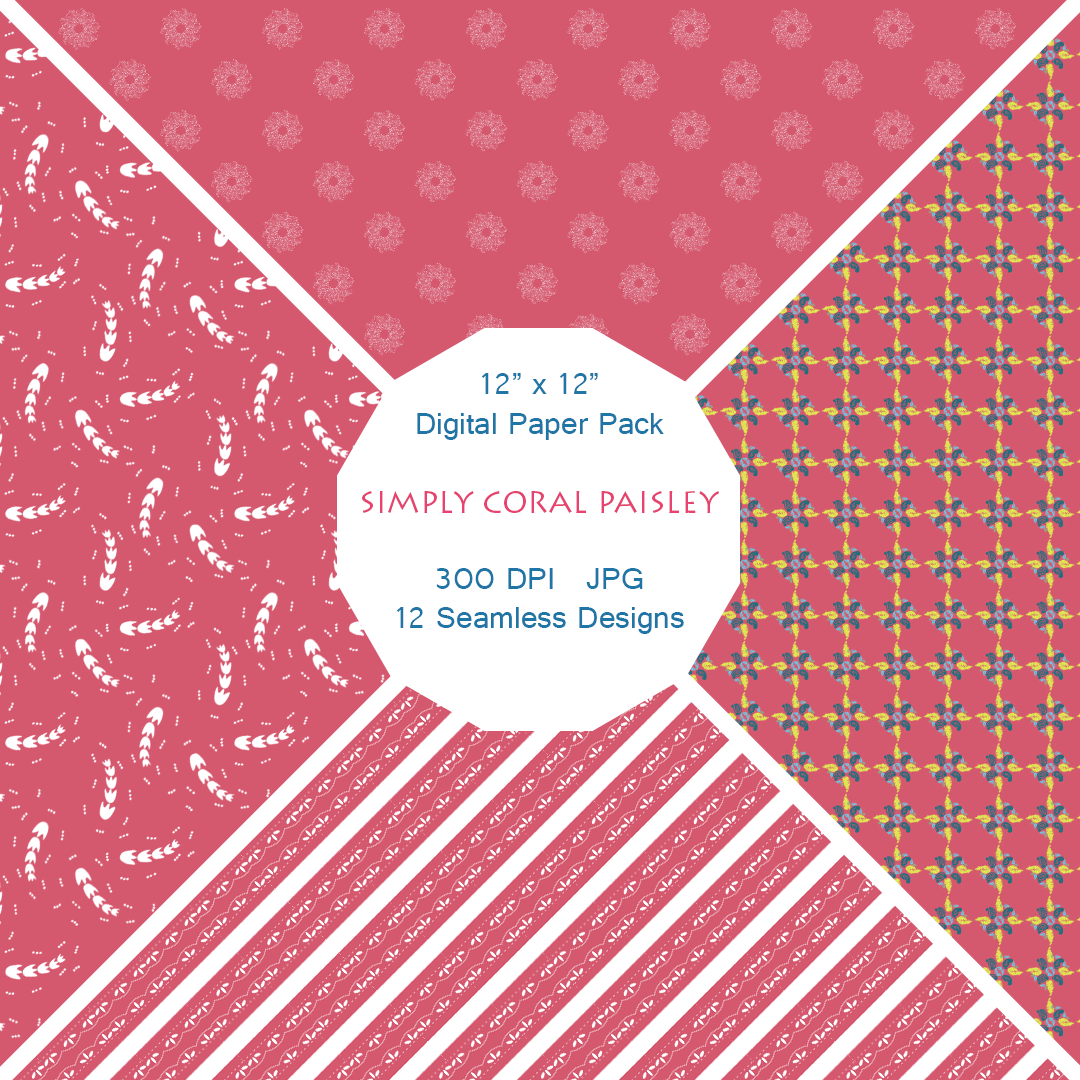 """Simply Coral Paisley"" Digital Patterns"