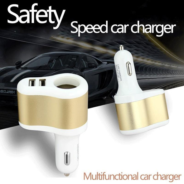 5V 3.1A Dual USB Car Charger & Cigarette Lighter Adapter with display fast charger - The Car Wizz AutoStore