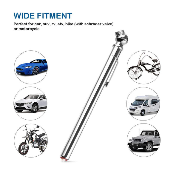 AUTO Pencil Tire Pressure Gauge, Accurate Mechanical Air Gage, Stainless Stem Single Chuck with Pocket Clip Tyre Checker for Motorcycle Bike Car RV SUV - The Car Wizz AutoStore