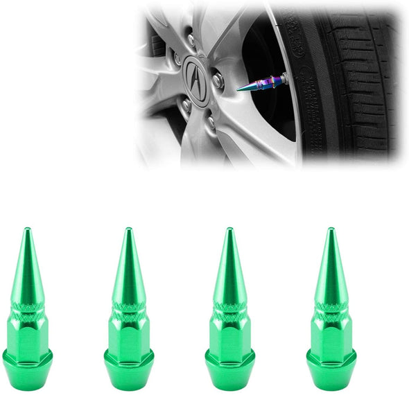 Black Long Spike Spiked Tire Valve Stem Caps Metal Thread Wheel Tires TVC20 - The Car Wizz AutoStore