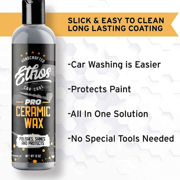 Ethos Ceramic Wax PRO - Aerospace Coating Protection | Ceramic Polish and Top Coat | Deep Mirror Shine | Slick, Hydrophobic Finish - Foam Applicator Included - The Car Wizz AutoStore