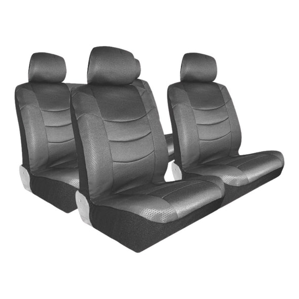 Hercules Luxurious Leather Look Seat Grey & Black Cover Set ( Airbag Compatible) - The Car Wizz AutoStore