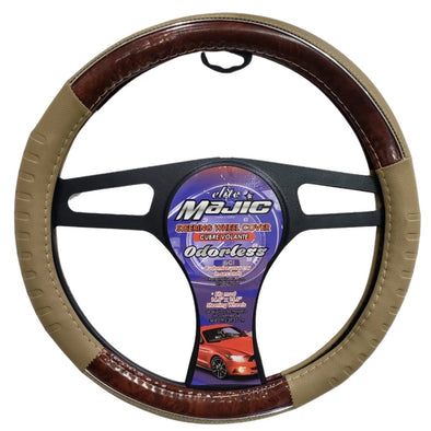 Majic Lite Brown / Wood Finish Steering Wheel Cover, Odorless, Breathable, Anti-Slip, Sporty, Soft and Snug Grip with Leather Effect - The Car Wizz AutoStore