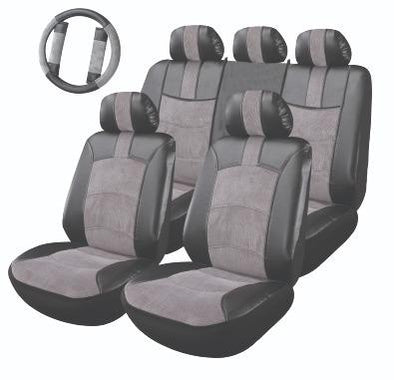 Majic Luxury Leatherette/ Fabric Seat Covers Full Kit with Steering Cover & Seat Belt Pads - The Car Wizz AutoStore
