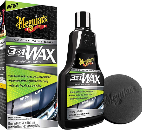 MEGUIAR'S 16 Ounce 3-in-1 Wax Kit - The Car Wizz AutoStore