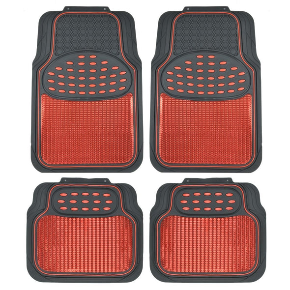 Metallic Rubber Floor Mats for Car SUV & Truck - Semi Trimmable, 2 Tone Color Heavy Duty Protection - The Car Wizz AutoStore