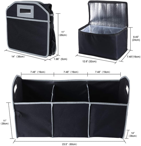 Universal & Collapsible Trunk Organizer and Cooler 2 in 1 Set - The Car Wizz AutoStore