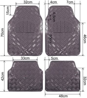 Universal Fit 4-Piece Set Metallic Design Car Floor Mat - Heavy Duty All Weather With Rubber Backing - The Car Wizz AutoStore