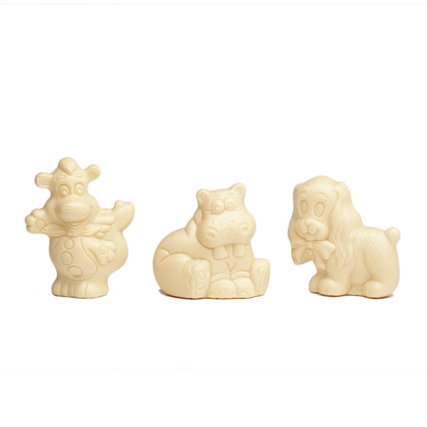 Assortiment de figurines en chocolats blancs belges