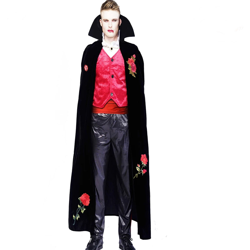 5746dad9aea Adult Men's Deluxe Ghost Vampire Sexy Costume Gothic Cosplay Red Rose  Vampire Outfit with Black Cape Purim Party